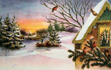 Winter antique postcard