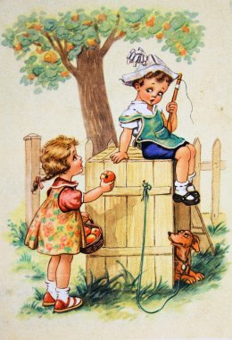 Girl holds out an apple to the boy, who sits on the dog house