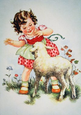 Girl playing with the lamb
