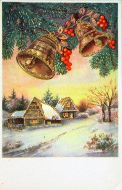Winter landscape, antique postcard
