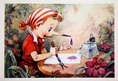 Pinocchio, antique postcard