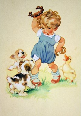Puppies and goose trying to rob girls buns