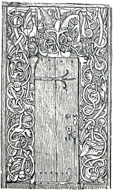 Scandinavian carved door