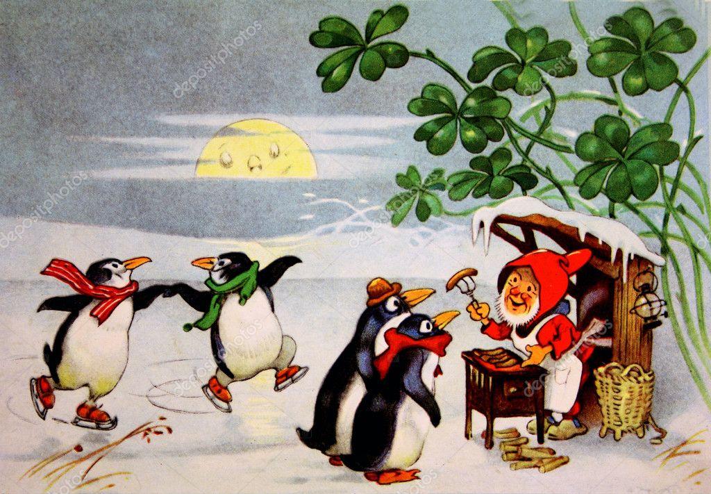 Dwarf feeding sausages penguins
