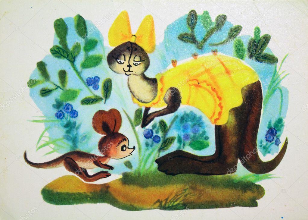 Kanga-roo, Antique postcard