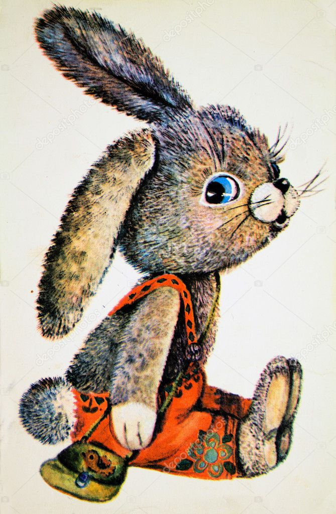 USSR - CIRCA 1978: Reproduction of antique postcard shows rabbit, circa 1978