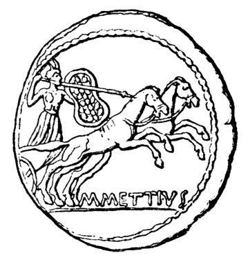 Young man in a chariot, denarius of Julius Caesar, Master Mettiu