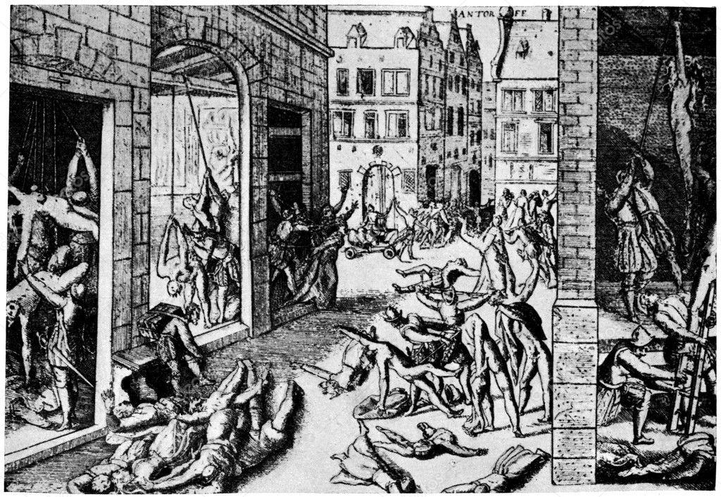 1876 年にアントワープの捕獲の後スペイン人の大虐殺, — ストック写真 ...