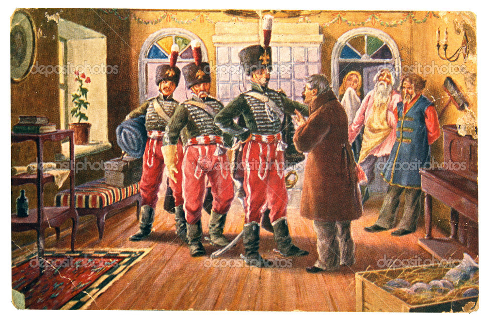 Three Hussars talk to the landowners in the background, three se