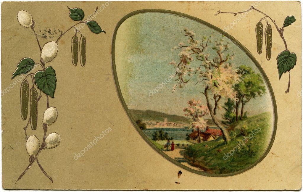 Rami del medaglione di telaio di salice con un paesaggio for Rami di salice