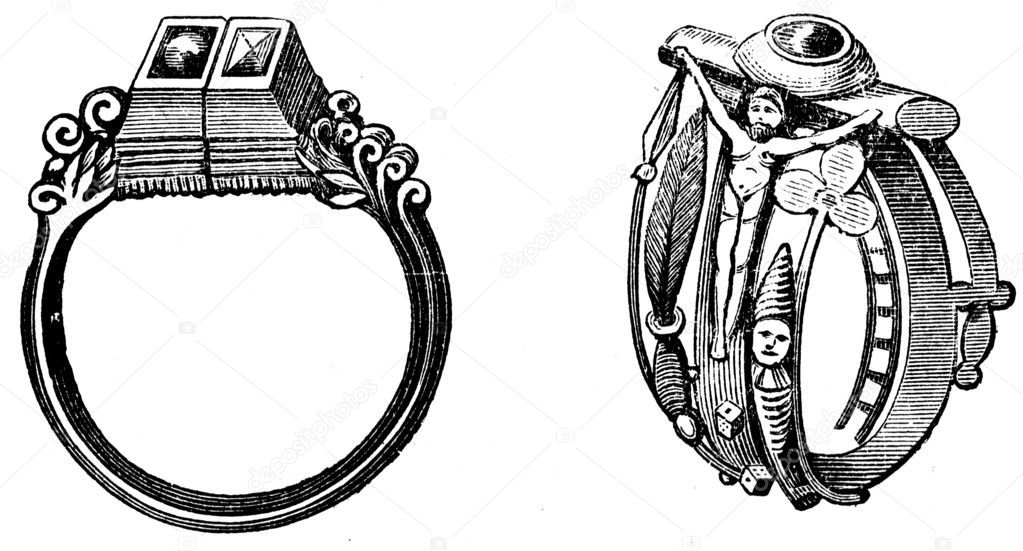 Wedding rings of Martin Luther and Katharina von Boras 1525 Stock