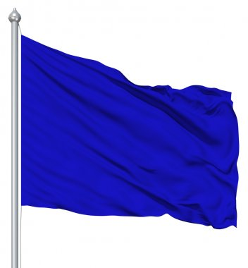 Blue blank flag with flagpole