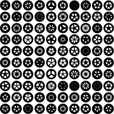 100 Silhouettes of wheels