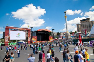 Fanzone and Palace of Culture in Kiev on June 8, 2012. Kiev will