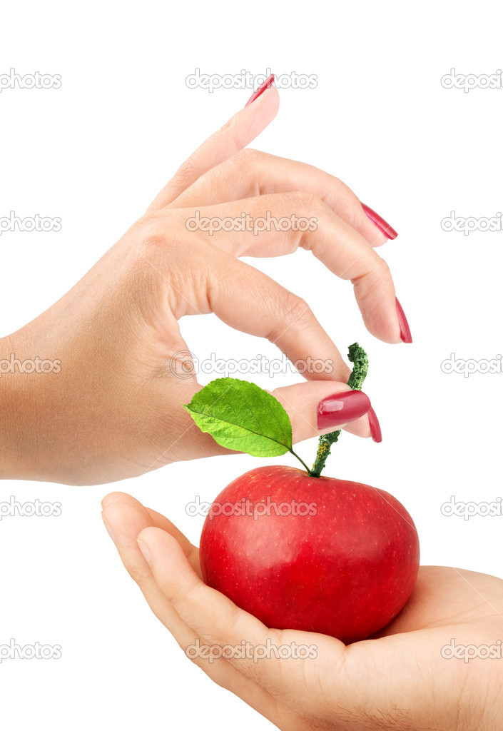 Girl gives the man an apple
