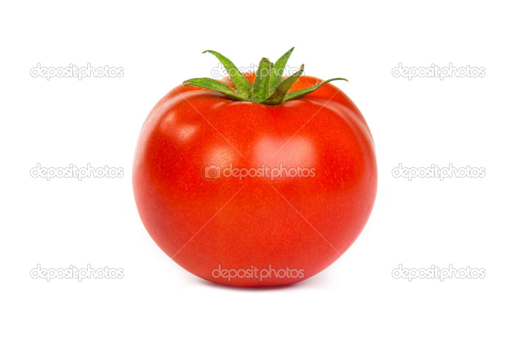 Fresh red tomato isoated on white