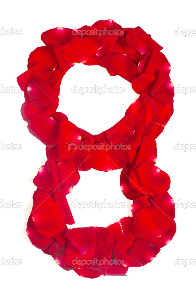 Number 8 made from red petals rose on white