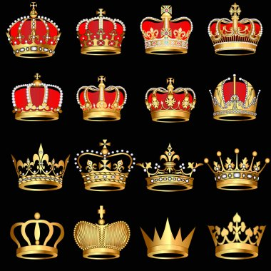 Set gold crowns on black background