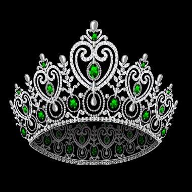 Corona diadem feminine wedding with emerald on black background