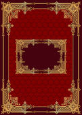 Roter Hintergrund mit Rahmen mit Gold(en)-Muster