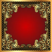 Roter Hintergrundrahmen mit Gold(en)-Muster und Netz