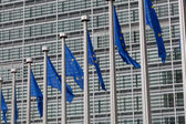 vlajky Evropské unie proti budova Evropského parlamentu