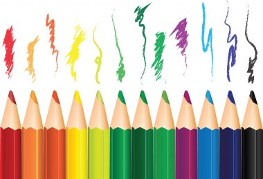A set of colored pencils with the shading. Vector illustration. clip art vector