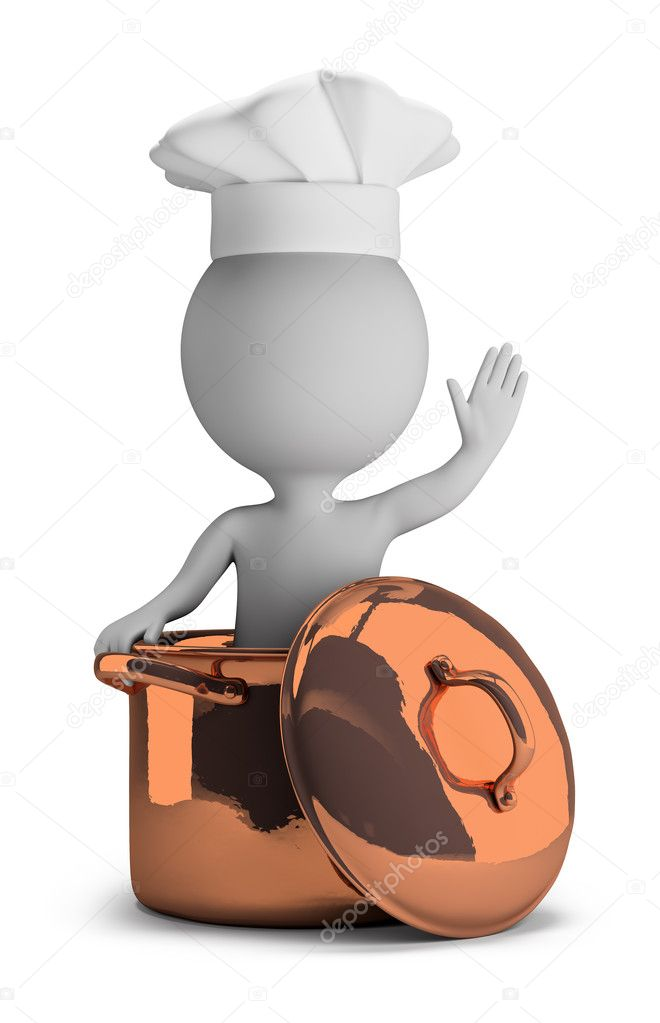 3d small - cook in a copper pan