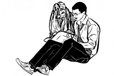 Sketch a fellow and girl read book