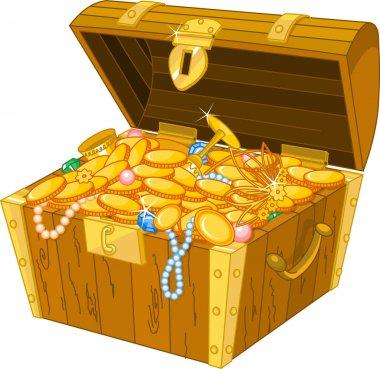 Illustration of treasure chest full of gold stock vector