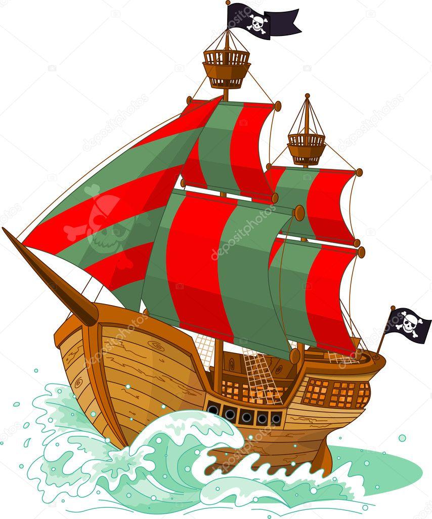Pirate Ship Outline stock vector art 165640731 | iStock