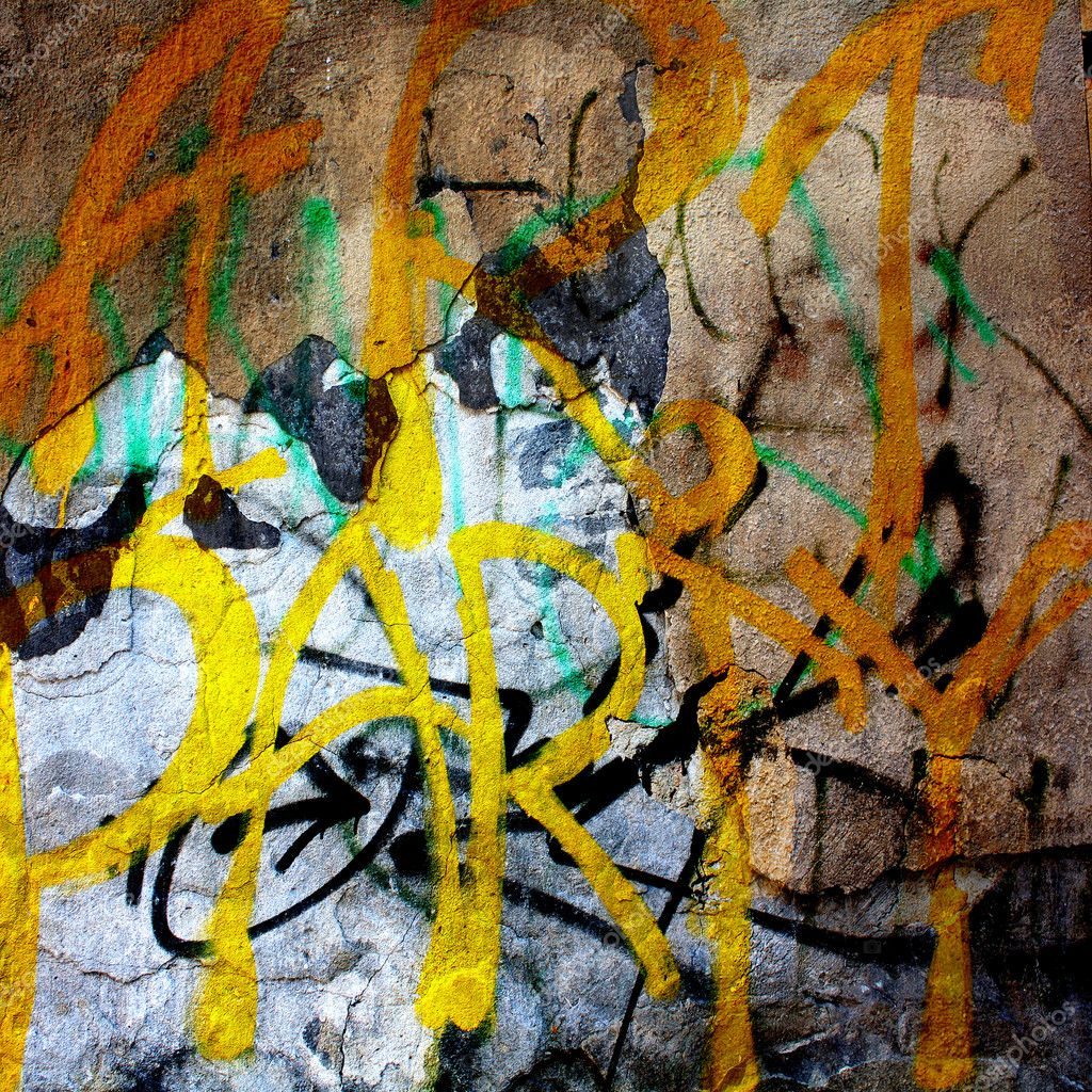 Plain text in style of graffiti on the old plastered wall — Stock ...