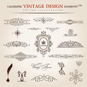 Vector set. Calligraphic vintage elements and page decoration pr