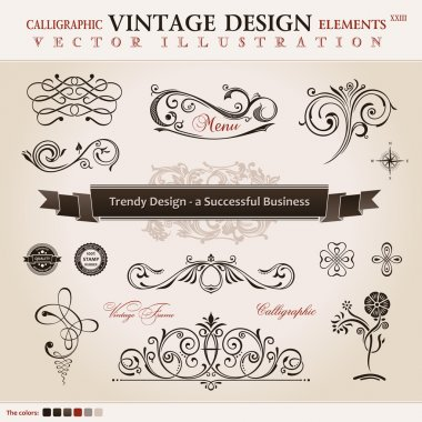 Vector set classic. Calligraphic design elements and book decora