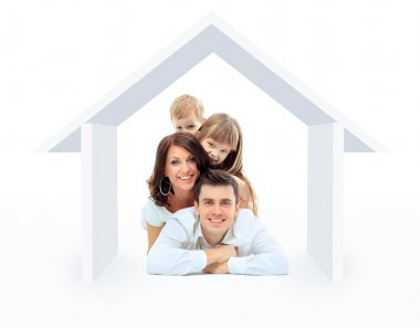 Beautiful family in a house