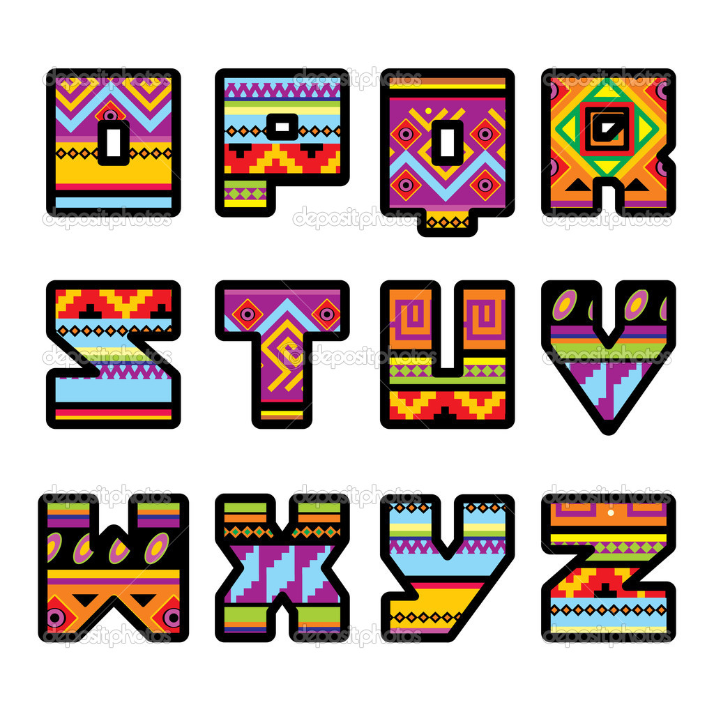 Stock Illustration Mexican Alphabet Part 2 on Clip Art Numbers 1000