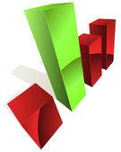 Fotografia grafico 3D con le barre verdi e bianche