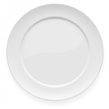 Vector illustration of blank white dinner plate isolated on white. stock vector