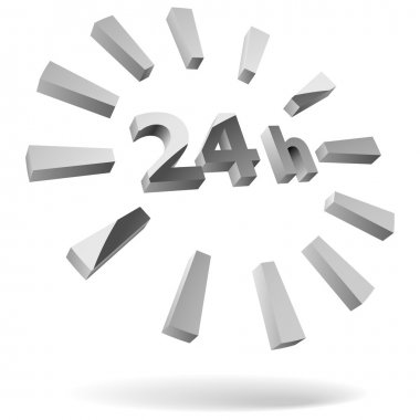 24 hours steel 3D icon isolated on white.