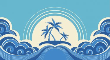 Abstract sea waves. Vector illustration of tropical palms on isl