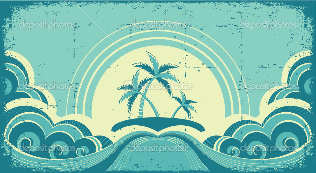 Vintage seascape with tropical palms on island.Grunge image