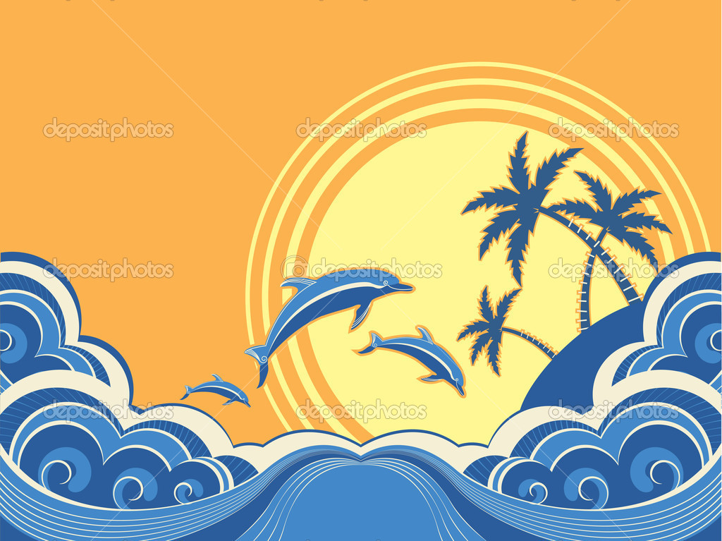 Seascape waves poster with dolphins. Vector illustration
