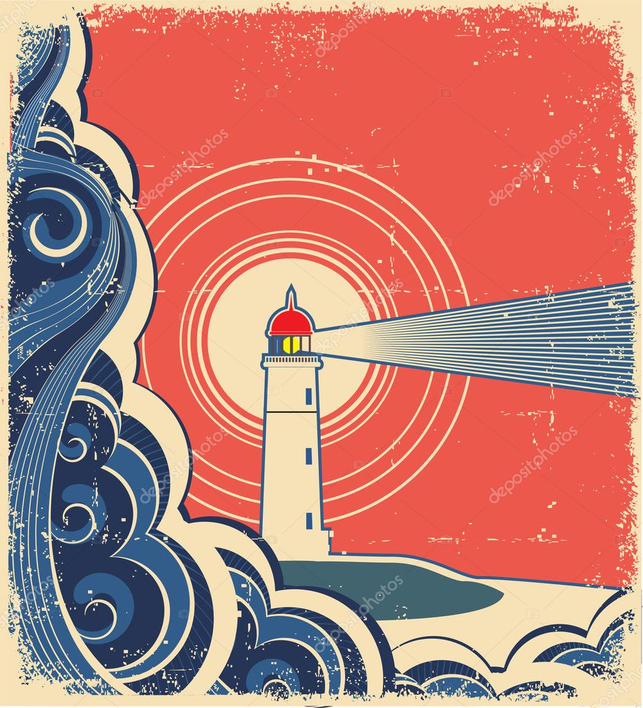 Lighthouse with blue sea.Vector grunge background for design