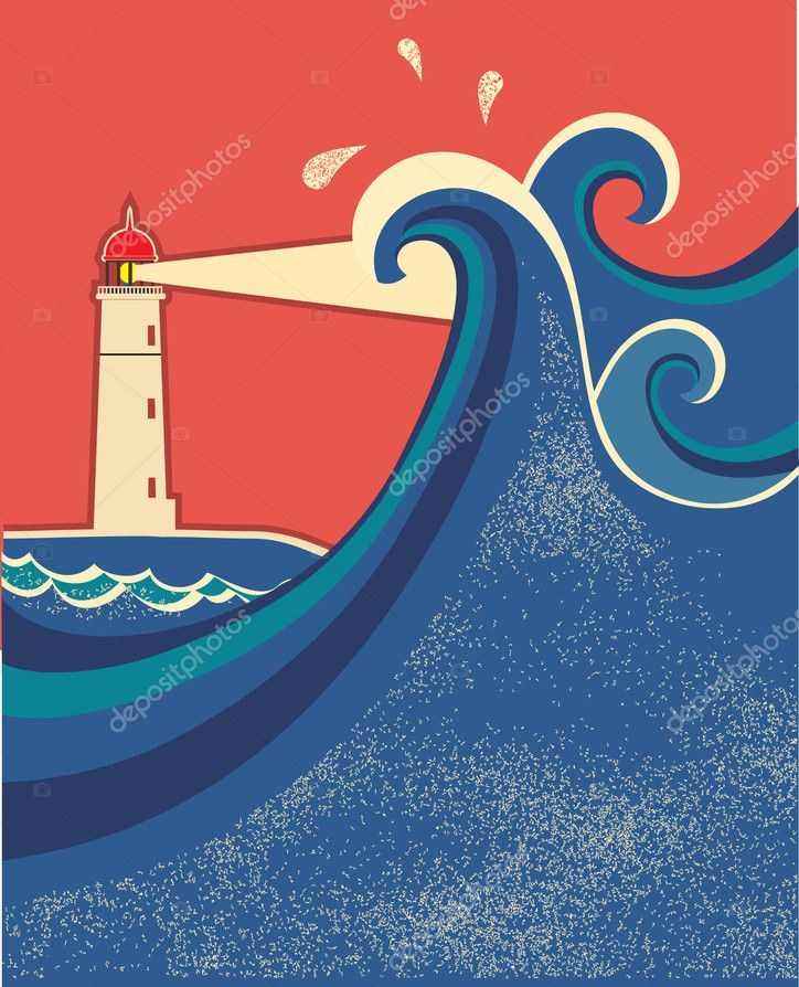 Sea waves horizon on old paper texture.Vector illustration with