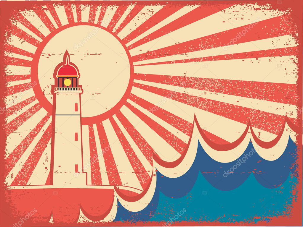 Seascape horizon. Vector illustration with lighthouse on grunge