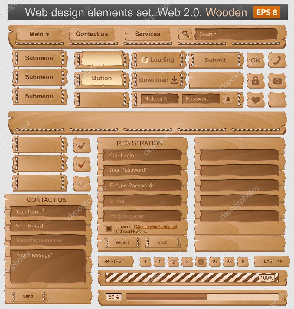 Web design elements set wooden