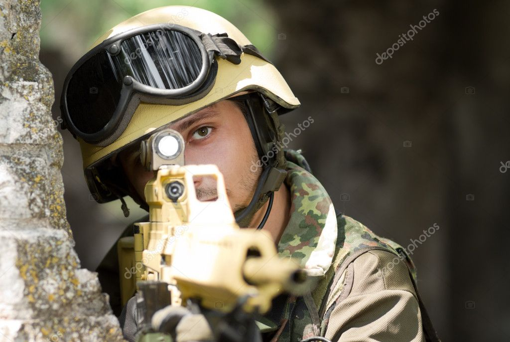 Soldier targeting with a rifle