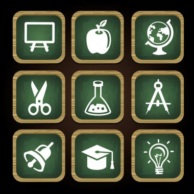 Education icons in square frames