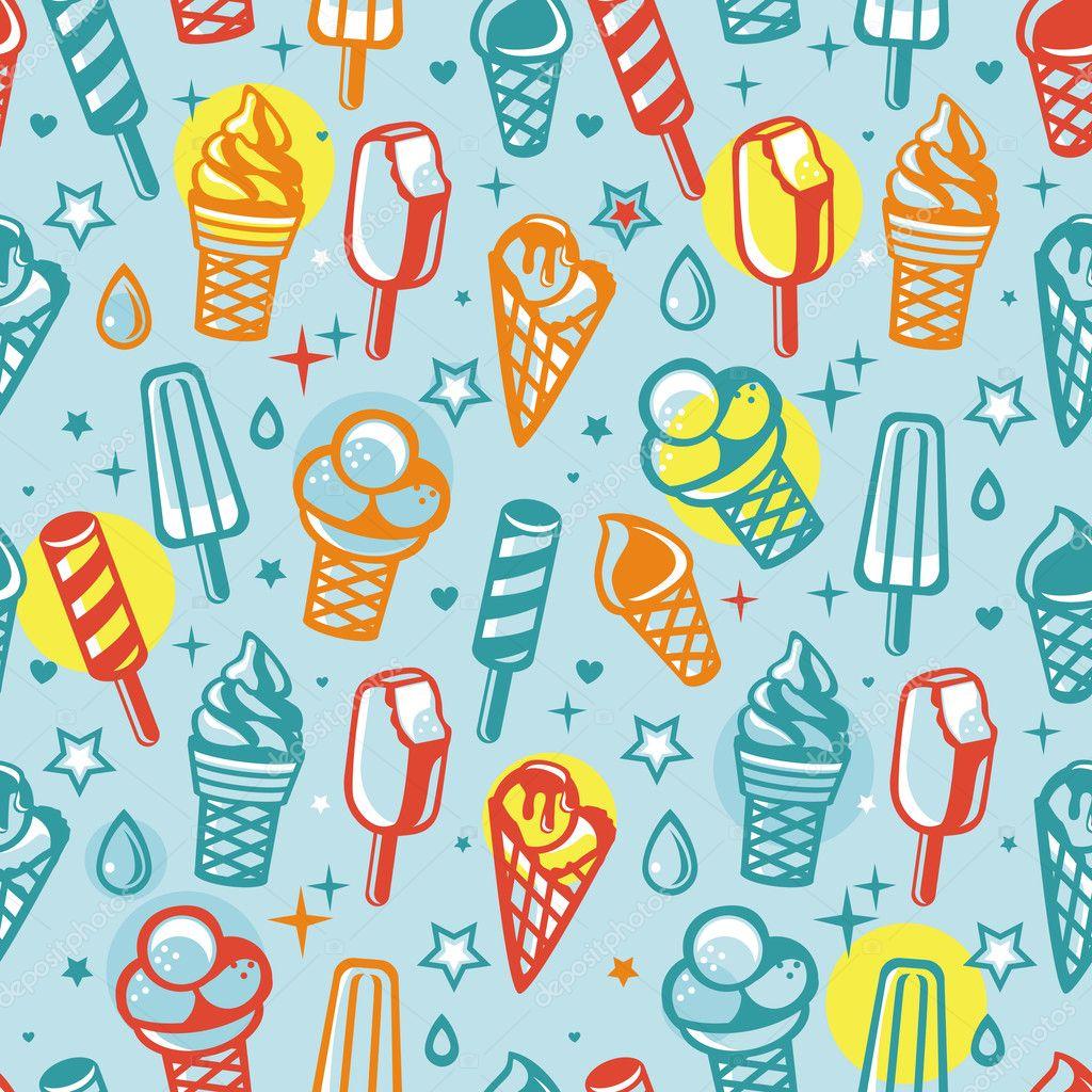 Download Cartoon Ice Cream Wallpaper Gallery: Vector Seamless Pattern With Cartoon Ice Cream
