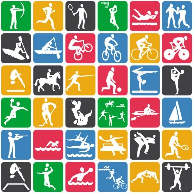 Vector seamless pattern with sport icons stock vector